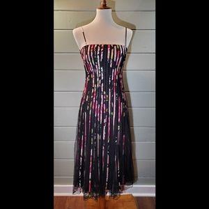 Black Mesh Dress with Floral Vertical Stripes
